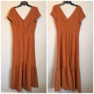 Blushing Heart Pumpkin Spice Button Prairie Dress